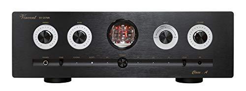 Vincent SV-237MK High-End Hybridverstärker, für warmen Röhren-Sound, Stereo HiFi-Verstärker mit digitalen Eingängen, LED-Beleuchtung, 4 schraubbare Lautsprecher-Anschlüsse, schwarz