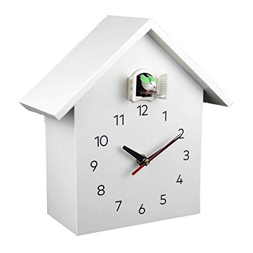 MXCYSJX Reloj de Cuco Grande y vívido - Pajarera Blanca, diseño Moderno Minimalista, Reloj de Cuco con Reloj Despertador temporizado, Campanilla con Apagado automático Cocina y hogar,A1white