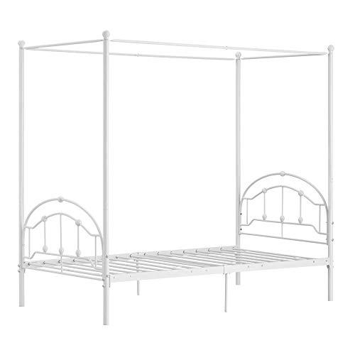 Bonnlo Metal Canopy Bed Frame with Removable Canopy Poles for Girl/Kid Iron Poster Bed/No Box Spring Needed, Twin, White