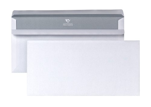 Bong 1220617 Posthorn - Busta da lettera in formato DIN lungo, gommata con interno grigio, dimensioni 110 x 220 mm, 100 pezzi, colore: Bianco