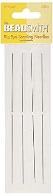 The Beadsmith 5 Inch Big Eye Beading Needles (Set of 4) - Easy Needle to Thread