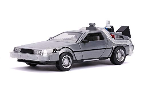 Back to The Future Part II 1:24 Time Machine Die-cast Car Light Up Feature, Toys for Kids and Adults