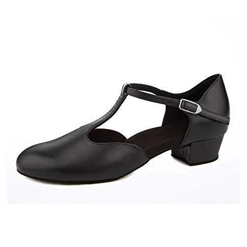 Dress First Flache Tanzschuhe für Damen, niedriger Absatz, echtes Leder, T-Riemen, Lateinamerikanische Ballsaal, Salsa-Schuhe, 2,5 cm, Schwarz (schwarz), 39 EU