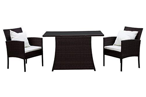 AVANTI TRENDSTORE - Limo - Set di mobili da Giardino/Balcone in Rattan Sintetico di Colore Marrone Scuro con Cuscini Bianchi compresi. Dimensioni Lap 285x82x70 cm