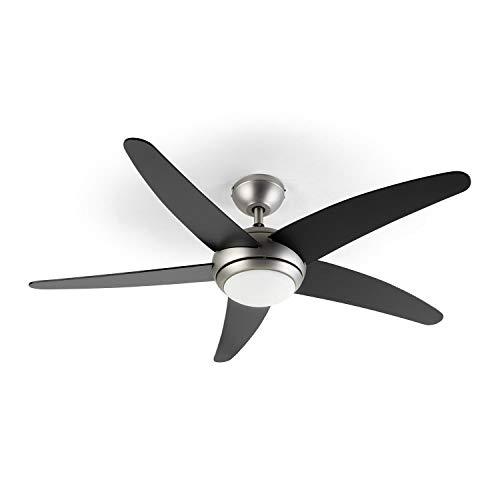 Klarstein Bolero - 2-in-1-Deckenventilator 134cm durchmessender Ventilator, Leuchte 55W Leistung, Holzflügel, Fernbedienung, 50 dB, 3 Drehgeschwindigkeiten: schnell, mittel, langsam, schwarz