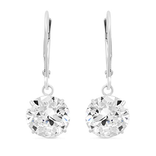 14k White Gold Leverback Earrings with Cubic Zirconia Dangles | 5 CTTW | Gift Boxed