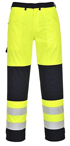 Vlamvertragende Hi Vis Multi-Norm Broek Broek Knie Pad Zakken Werkkleding FR62, XXL, Geel/marine, 1