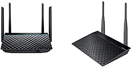 ASUS Dual-Band 2x2 AC1300 Super-Fast WiFi 4-Port Gigabit Router with MU-MIMO and USB 3.0 (RT-ACRH13) & RT-N12 N300 WiFi Router 2T2R MIMO Technology, 4K HD Video Streaming, VoIP,Up to 300 Mbps,Black