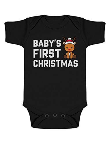 Body de Manga Corta para bebé - Navidad Ropa Bebe Recien Nacido Monos Bodies con Reno para 0-12 Meses Niña Niño Mi Primera Navidad -