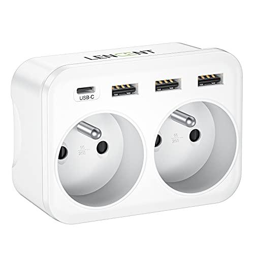 LENCENT Prise USB Secteur Multiple, 6 en 1 Prise USB Multiple avec 2 Prises Murales, avec 2 Sorties AC, 1 USB C et 3 Ports USB, Chargeur Multiprise duex Prises Françaises pour Chambre/Cuisine/Bureau