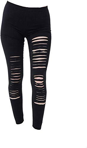 Tatuaje Leggings Mujer Gótico Punk Carnaval Leggins Pantalones Ripeado Roto Look Nuevo a Estrenar en Dos Tallas - Negro, L