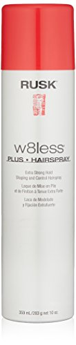RUSK Designer Collection W8less Plus Extra Strong Hairspray, 10 Oz, Provides Texture, Natural Shine, and Long-Lasting, Touchable Support, Professional Hold and Support