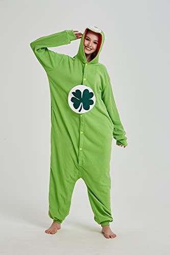 WEIYIing Pijamas de una Pieza para Adultos, Pijamas de una Pieza de Oso de Dibujos Animados, Disfraces de Lana Polar, Disfraces de Cosplay de Escenario navideño-B_L