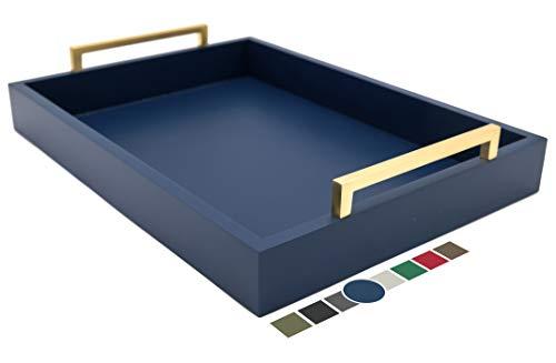 Montecito Home - Bandeja decorativa para mesa de centro (azul crepúsculo), diseño moderno, color champaña y dorado
