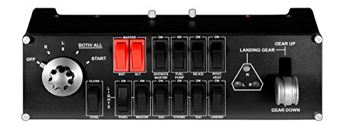 Logitech G Saitek Pro Flight Switch Panel, Simulations-Schalttafel für Flug Simulatoren, LCD-Display, Fünf-Stufen Magnetzünder-Drehschalter, Realistische Fahrwerksteuerung, USB-Anschluss, PC - schwarz