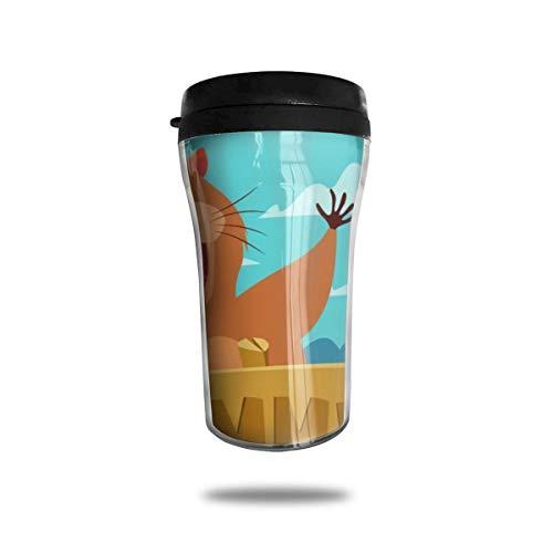 Taza de café de viaje con impresión 3D, taza de té, taza de agua aislada, taza de viaje para hombres, mujeres y niños, gopher con signo de verano