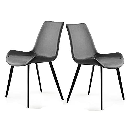 Juego de 2 sillas de comedor de piel sintética acolchada, modernas sillas auxiliares de metal para cocina, comedor, dormitorio, salón (gris)