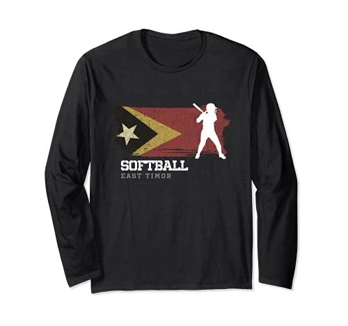 East Timor Softball Team Girls Baseball Mujeres Softball Manga Larga