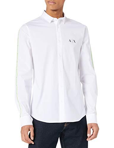 ARMANI EXCHANGE Recycled Stretch Cotton White Shirt Camicia, Bianco, XS Uomo