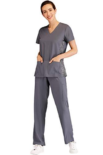 Minty Mint Women's V Neck Stretch Medical Scrub Set w Side Panels