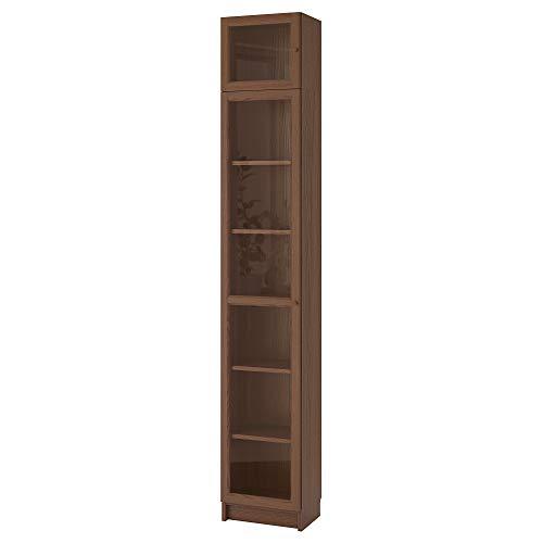 BILLY/OXBERG estantería con puerta de cristal 40x30x237 cm chapa de ceniza marrón/vidrio