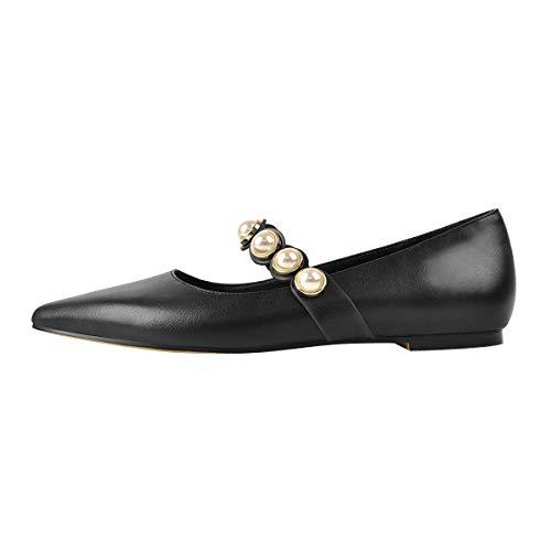 MissHeel Zapatos Planos Bailarinas con Perlas Negro, color Negro, talla 36 EU