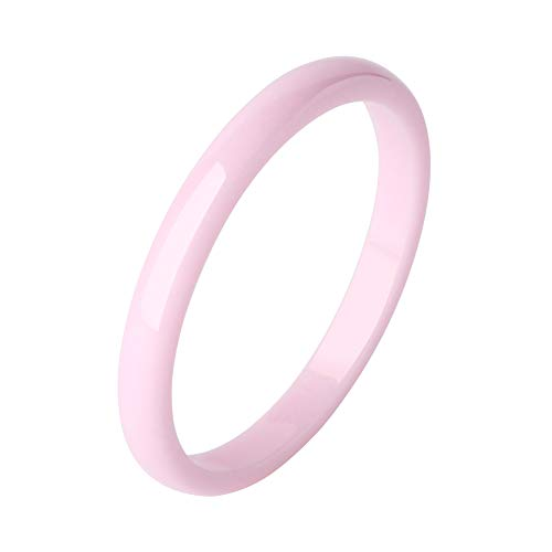 TUHE 3MM 6MM 8MM Facted Ceramic Rings Wedding Band Rings Allergy Free, Thin Comfort Fit Polished Black/White/Pink/Blue Rings for Women Men Couple Promise Engagement Wedding Rings, Size 6/7/8/9