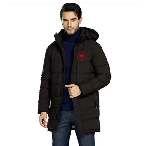 Men capuchon van katoen, winter lange sectie van zwarte jas, intelligent verwarming, outdoor sporten, S, M, L, XL, XXL (Color : Black, Size : XL)