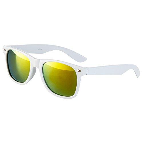 Ciffre Nerdbrille Sonnenbrille Stil Brille Pilotenbrille Vintage Look Weiß Gelb verspiegelt W44