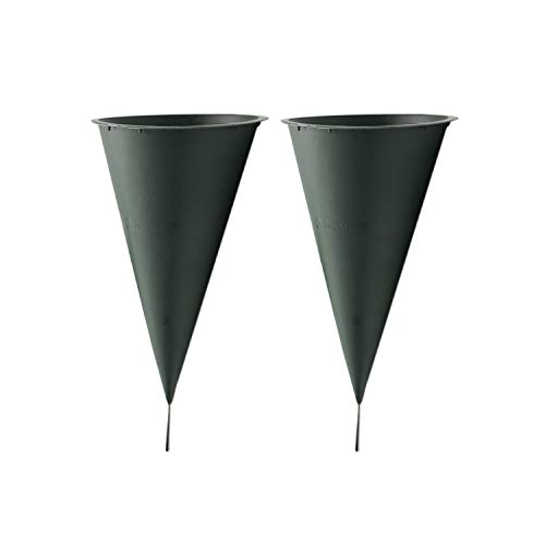 Royal Imports Cemetery Flower Vase Cone for Graveside Memorial with Metal Stake (2, Large)