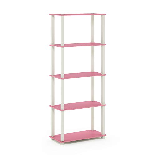 Furinno Turn-S 5-Tier Multipurpose Shelf Display Rack with Square Tubes, Pink/White -  18123PI/WH