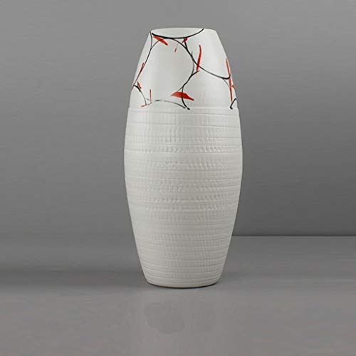 Hand-Painted Ceramic Vase Red Ceramic Decorative Dried Flower Vase JSFQ (Size : 14cm30cm)