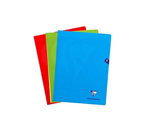 Clairefontaine 293311AMZ - Un lot de 3 cahiers piqués Mimesys 48 pages 24x32 cm 90g grands carreaux, couvertures polypro (plastique) couleurs assorties (bleu, rouge et vert)