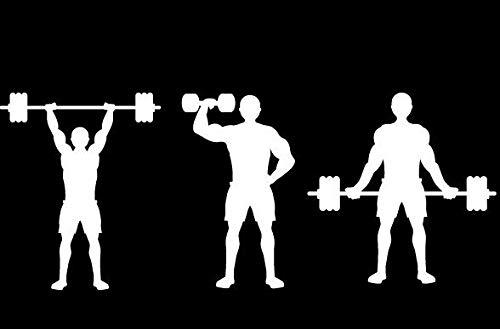 myrockshirt Gewichtheber Silhouette gesamt 18cm Bodybuilder Kraftsport Fitness Hanteln Aufkleber Autoaufkleber Profi-Qualität ohne Hintergrund Sticker UV&waschanlagenfest