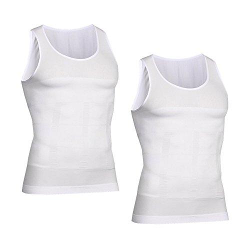 VENI MASEE Men es Body Shaper Schlankheits Weste, Männer elastische Formung Weste thermische Kompression Basisschicht schlank Kompression Muskel-Tank Shapewear (White Tank Top 2 Pieces, S)