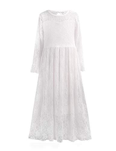 trudge  Maxikleid Mädchen Spitze Festlich Hochzeit Prinzessin Langarm Kleider Kinder lang Herbst Winter, 150, Weiß