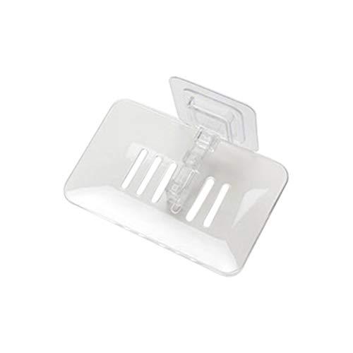 Macabolo Zeepbakje bord, aan de muur gemonteerde zeep drain houder badkamer organizer opbergkast met sterke zuignap 13.4 * 8.7 * 4cm wit