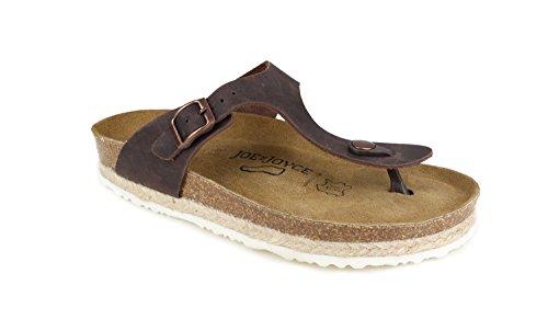 JOYCE Rio dames teenslippers van echt leer | comfortabele kurk-sandalen met comfortabele zool | maten 36-42 | met jute-applicatie
