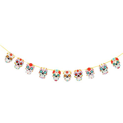 NUOBESTY DIY Day of Dead Banner Paper Sugar Skull Hanging Bunting Halloween Garland Altar Decorations for Mexican Theme Party