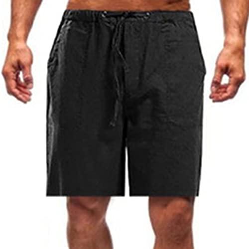 Men's Flat Front Shorts Summer Lounge Short Solid Color Casual Drawstring Shorts Lightweight Sleeping Short Black