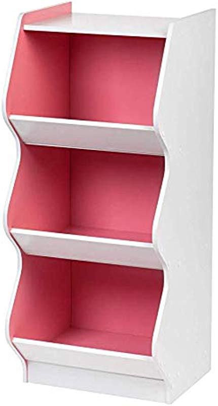 IRIS USA Inc 3 Tier Curved Edge Storage Wood Shelf White And Pink