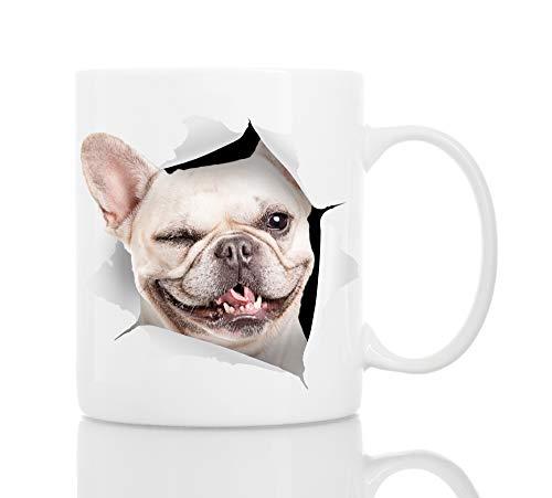 Winking French Bulldog Mug - Ceramic Funny Coffee Mug - Cute Novelty Coffee Mug Present - Great Birthday or Christmas Surprise for Friend or Coworker, Men and Women (11oz)