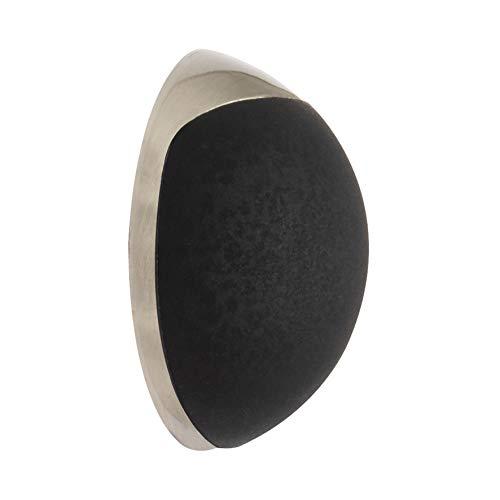 WAGNER Butoir de porte à VISSER ou COLLER au mur - Diamètre Ø 38 x 15 mm, corps en zinc moulé sous pression, aspect acier inox, protection en caoutchouc noir, matériel de montage inclus - 15513111