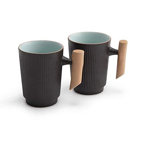 YHshop Taza de café Conjunto de 2 Taza de café de cerámica Mate con Mango de Madera, Taza de té para Uso Personal para el hogar y la Oficina, 250 ml / 8.5oz, Negro Taza de Agua