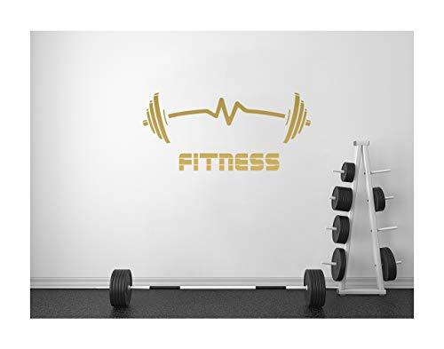 StickerDeen | Mancuernas de fitness en forma de latido para ejercicio, músculo, motivación, gimnasio, decoración de paredes, vinilo removible y adhesivo de regalo | (grande), dorado