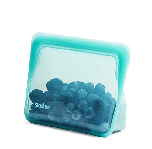 Stasher STSUC02 100% silicona de grado alimenticio reutilizable de almacenamiento, Aqua (Stand-Up Mini) | Bolsa de almuerzo sin plástico | Cocina, tienda, Sous Vide, o congelar | a prueba de fugas