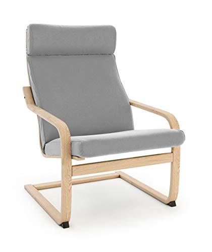 Vinylla Funda de repuesto para sillón compatible con IKEA Poäng (diseño de cojín 3, terciopelo – gris)