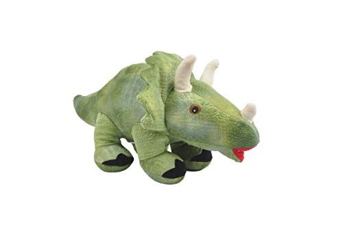 """Linzy Toys, Dinosaur Plush Coin Bank, Green Triceratops, 15"""" x 8"""", 8 inches"""