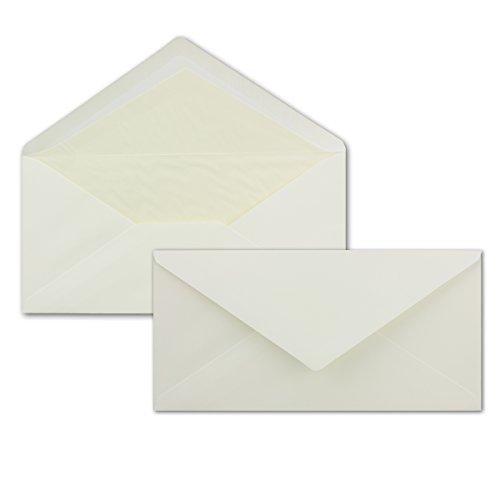 50 Briefumschläge Creme - DIN Lang - gefüttert mit cremefarbenen Seidenpapier - 80 g/m² - 220 x 110 mm - Nassklebung - Marke: NEUSER Seta