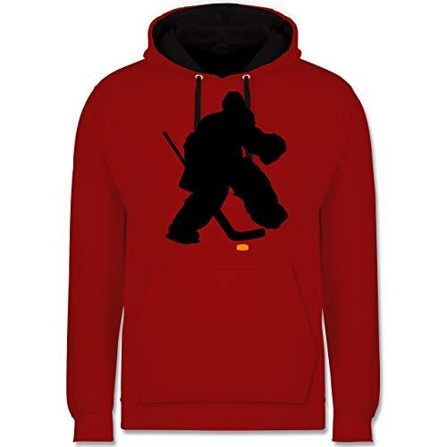 Shirtracer Eishockey - Eishockeytorwart Towart Eishockey - L - Rot/Schwarz - Eishockey Torwart - JH003 - Hoodie zweifarbig und Kapuzenpullover für Herren und Damen